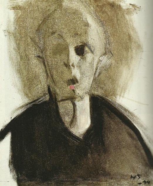 På Göteborgs konstmuseum såg jag också en utställning med målningar av Helene Schjerfbeck. De gjorde verkligen ett starkt intryck på mig! Helene S. föddes i Helsingfors 1862 och dog 1946 i Saltsjöbaden utanför Stockholm. Många av målningarna på utställningen var porträtt, inte minst självporträtt. Bilden här ovan är en av Helenes sista bilder med sig själv som modell.