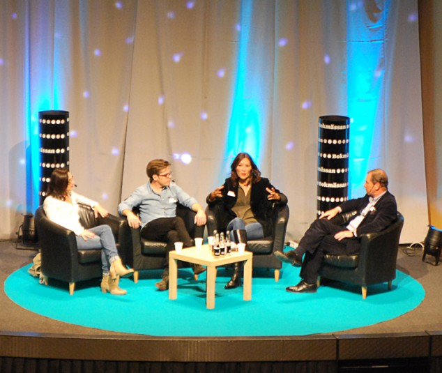 Katia Wagner och Jens Mikkelsen berättade om arbetet med sin bok vid ett seminarium på Bok&Bibliotek i Göteborg.