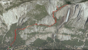 The red line marks the trail from Camp 4, all the way to Upper Yosemite Falls.